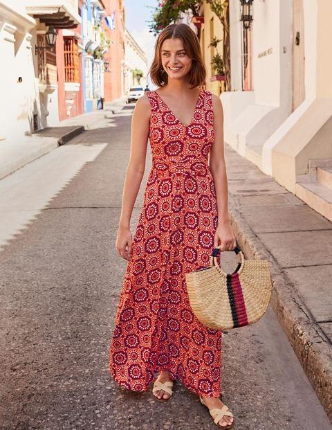 Robe longue Sienna en jersey - Rouge boîte aux lettres, motif Tuile Soleil
