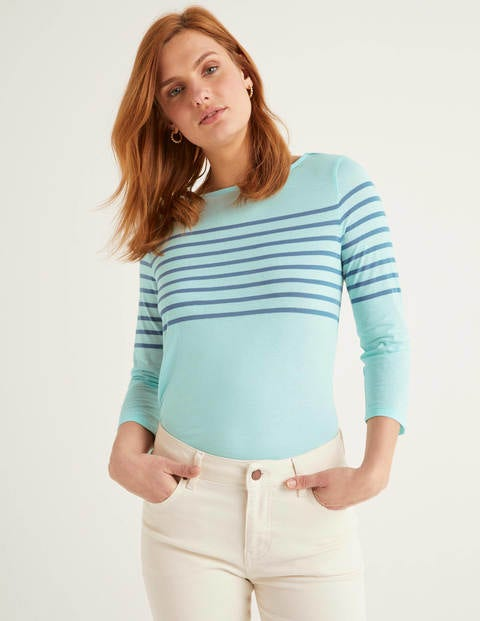 Dolores Jersey-Bretonshirt - Helles Surfblau/Matrosenblau
