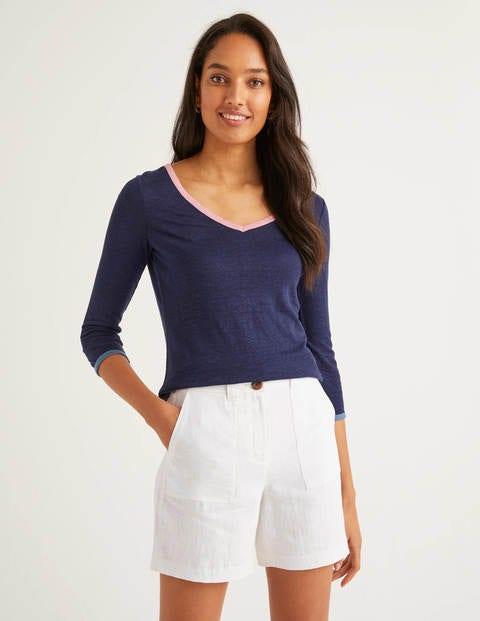 T-shirt col V Cornelia en lin - Bleu marine