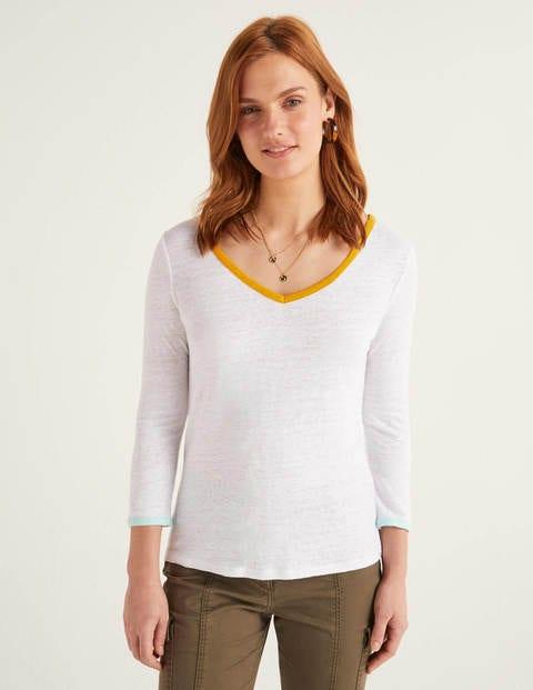 Cornelia Linen V-neck Tee - White