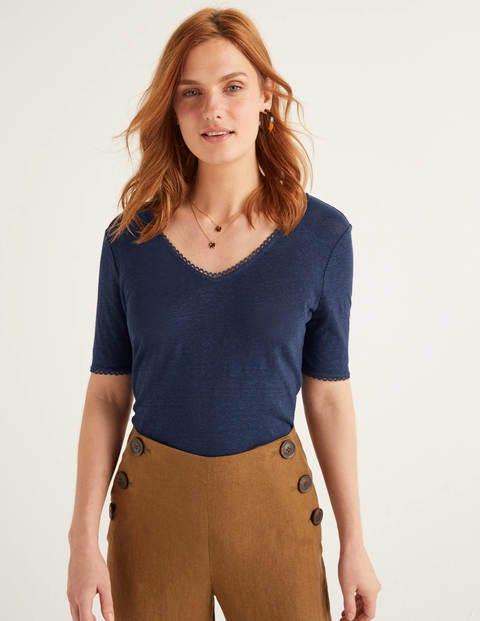 Serena Leinen-T-Shirt mit Muschelsaum