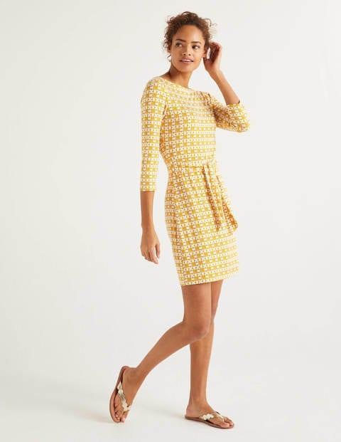 Sylvia Tie Jersey Tunic - Tuscan Sun, Retro Geo