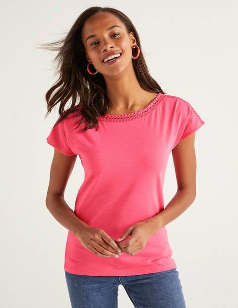 Darcey Jersey-T-Shirt Mit Stickerei - Helles Pink