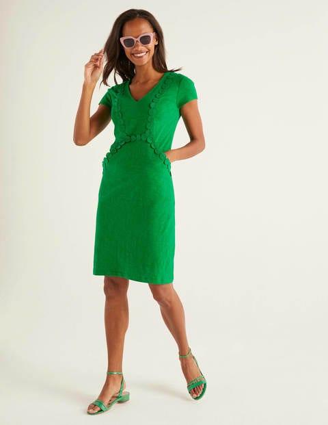 Saskia Jersey Trim Dress - Rich Emerald