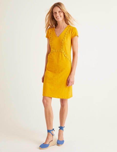 Saskia Jerseykleid mit Zierborte Yellow Damen Boden, Yellow