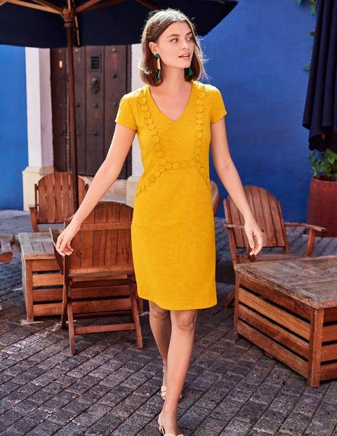 Saskia Jerseykleid Mit Zierborte - Sonnengelb