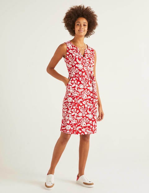 Vanessa Jersey Dress - Post Box Red, Tropical Retreat