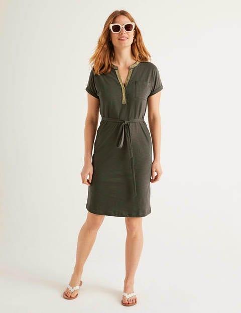 Dora Embroidered Jersey Dress - Classic Khaki