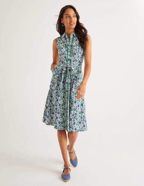 boden - Rhoda Jersey-Hemdblusenkleid mit Zierborte Ivory Damen , Ivory