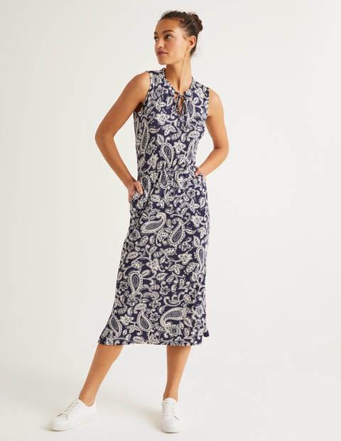 Eliza Jersey Midi Dress - Navy, Spotty Paisley