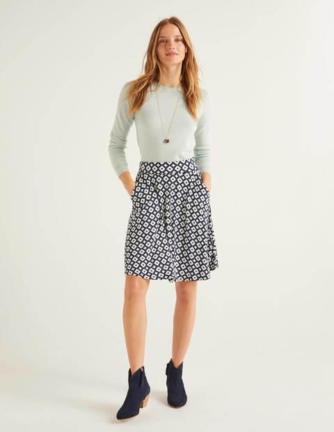 Edie Jersey Skirt - Navy, Diamond Drop