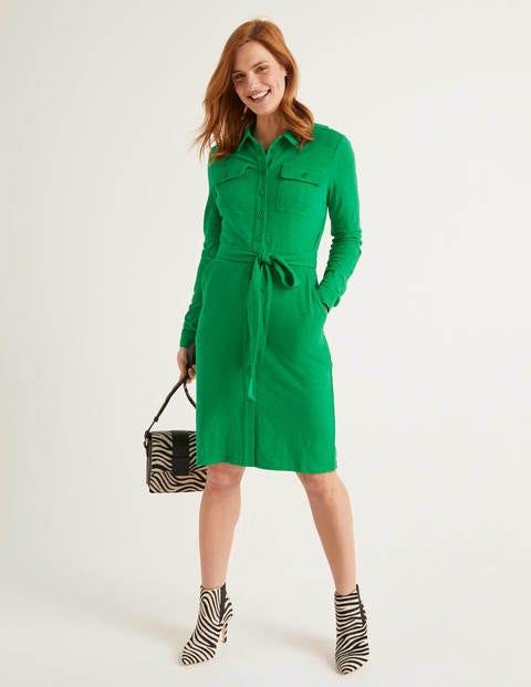 Rowena Jersey Shirt Dress - Rich Emerald