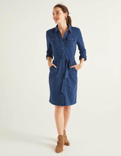 Robe-chemise Rowena en jersey - Pois, bleu moyen