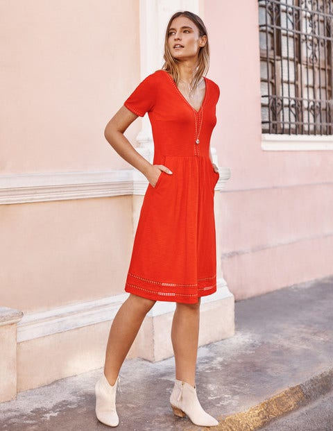 Carmen Trim Jersey Dress - Orange Sunset