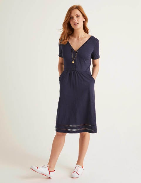 Carmen Trim Jersey Dress - Navy
