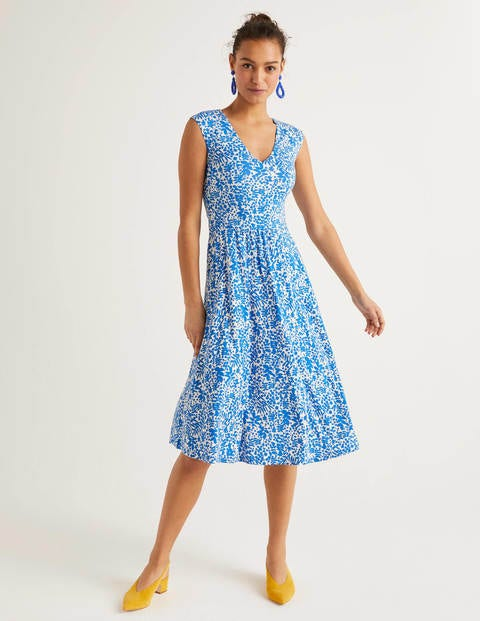 Odilie Jersey Dress - Bold Blue, Shadow Bloom
