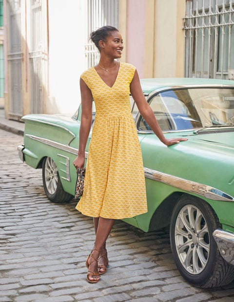 Odilie Jersey Dress - Tuscan Sun, Deco Palm