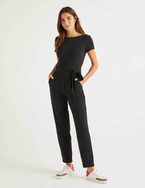 Tia Scoop Back Jersey Jumpsuit - Black