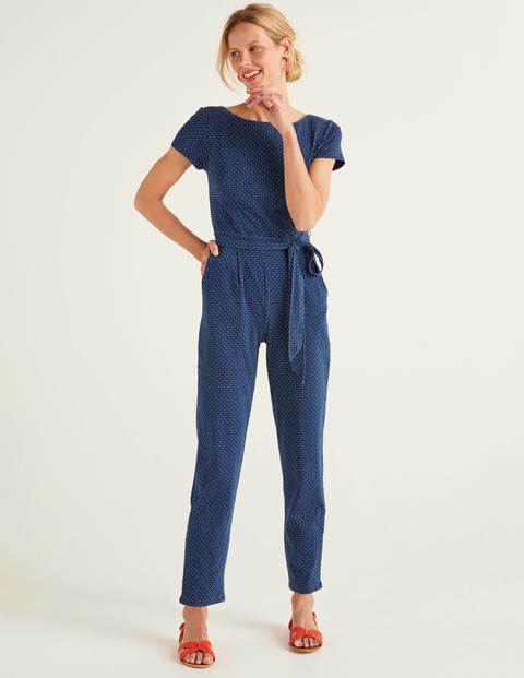 Tia Scoop Back Jersey Jumpsuit - Mid Blue Denim Spot