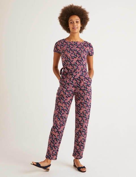 Tia Scoop Back Jersey Jumpsuit - Navy, Cheetah Bloom