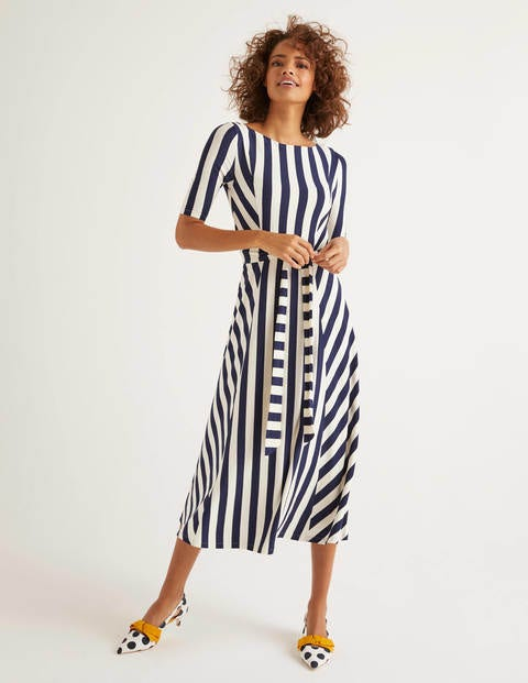 Cleo Belted Jersey Midi Dress - Navy/ Ivory