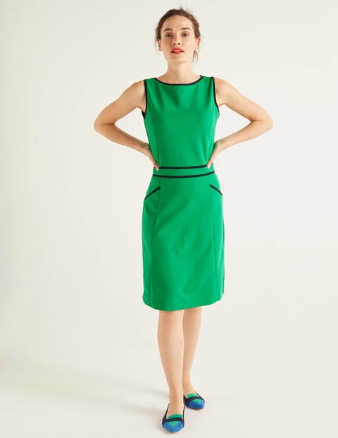 Sabrina Ponte Shift Dress - Rich Emerald