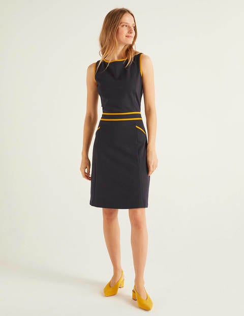 Sabrina Ponte Shift Dress - Navy