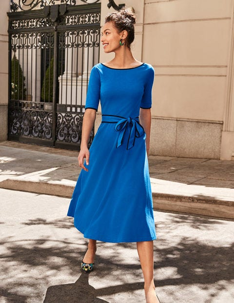 Ruby Ponte Midi Dress - Bold Blue