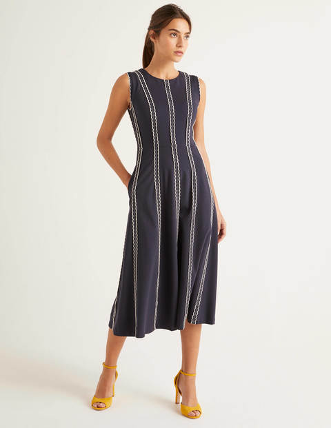 Eve Scallop Ponte Midi Dress