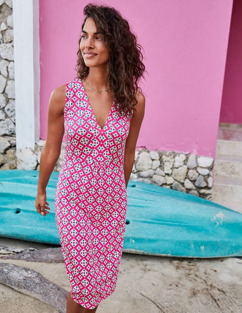 Eden Jersey Dress - Party Pink, Diamond Drop