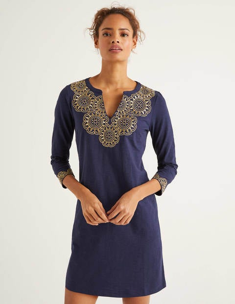 Eda Embroidered Jersey Tunic - Navy/Gold
