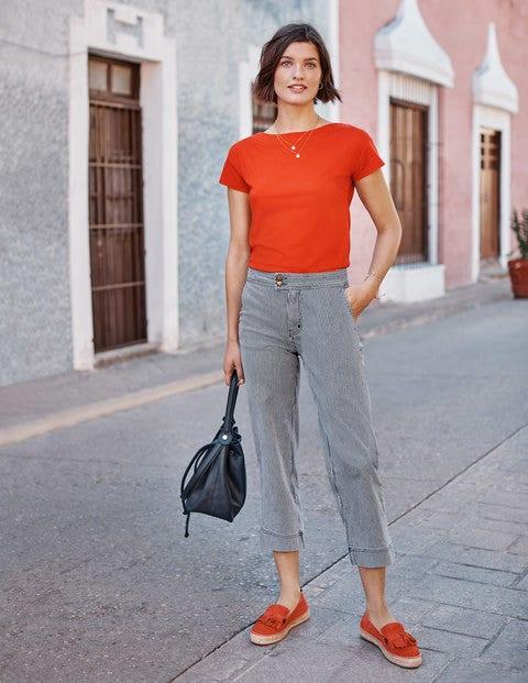 T-shirt col large ultra-doux - Orange crépuscule