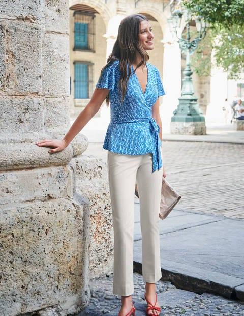 Cassia Jersey Wrap Top - Bold Blue/Ivory Spot