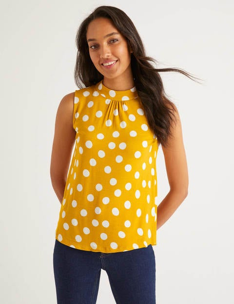Thomasina High Neck Top - Tuscan Sun/Ivory Spot