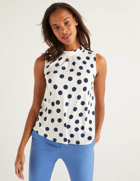 Thomasina High Neck Top - Ivory/Navy Spot