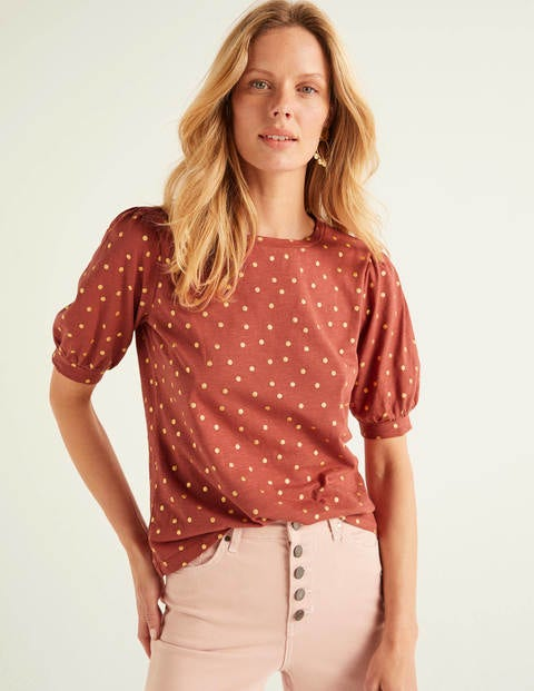 Zoe Gathered Sleeve Jersey Tee - Rouge/Gold, Polka Spot