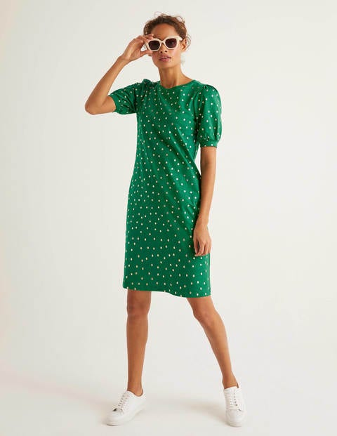 Zoe Jersey T-Shirt Dress - Forest and Gold, Polka Spot
