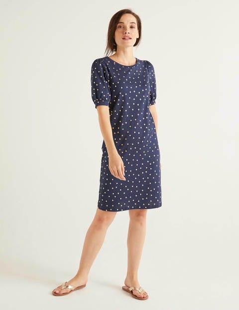 Zoe Jersey T-shirt Dress - Navy, Polka Spot