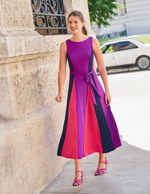 Gloria Jersey Midi Dress - Jewel Purple/ Navy