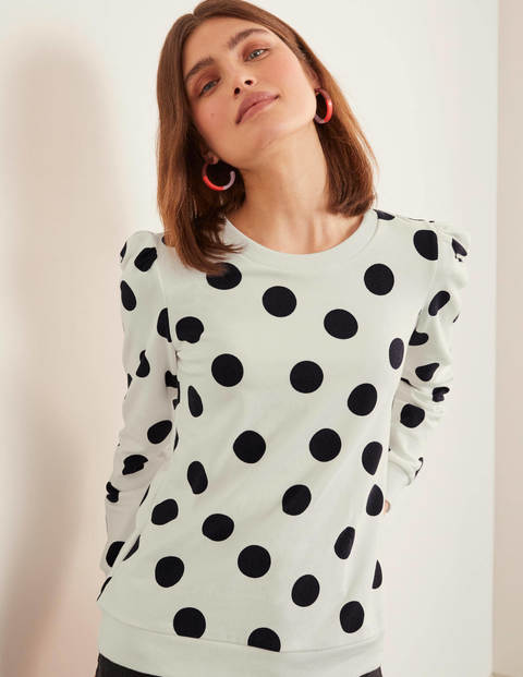 Puff Sleeve Sweatshirt - Ivory and Navy, Spot Scatter