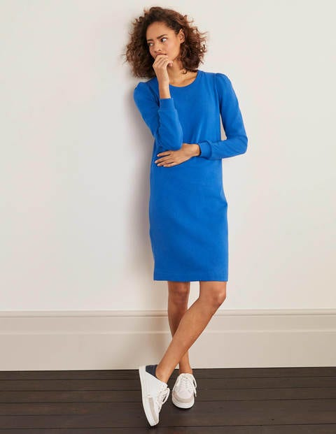Puff Sleeve Sweatshirt Dress - Bold Blue
