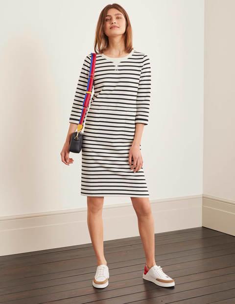 Hannah Sweatshirt Dress - Ivory/ Navy