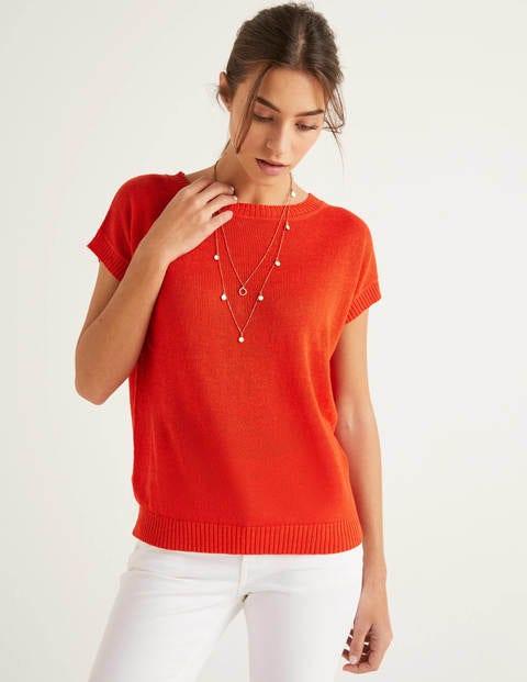 T-shirt Aubrey en lin boutonné dans le dos - Orange crépuscule