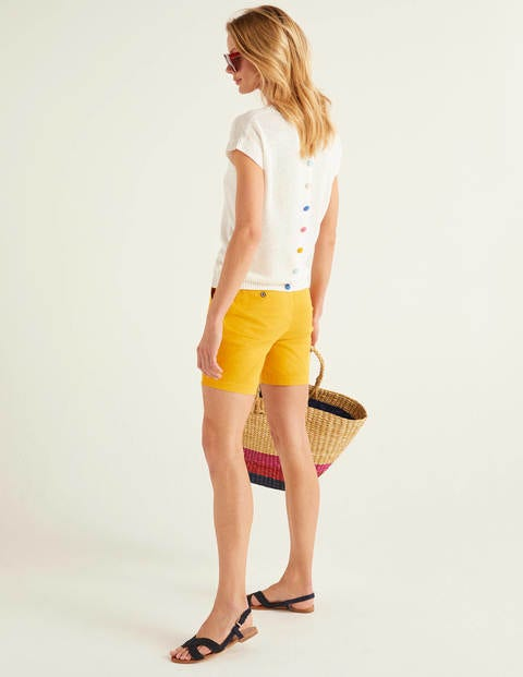 Aubrey Button Back Linen Tee - Ivory