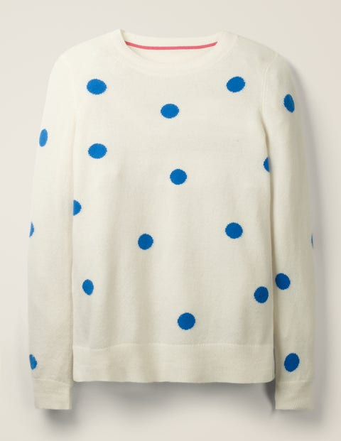 Cashmere Crew Neck Sweater - Bold Blue Spot