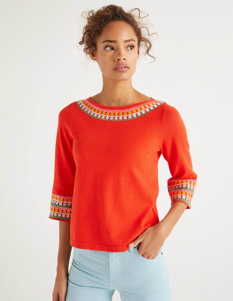 Monmouth Embroidered Sweater - Orange Sunset