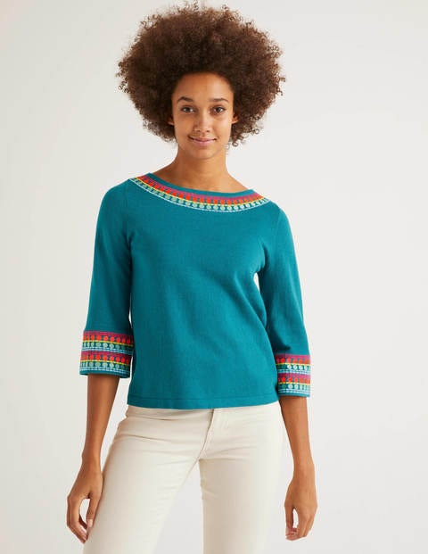 Monmouth Embroidered Jumper - Vibrant Teal