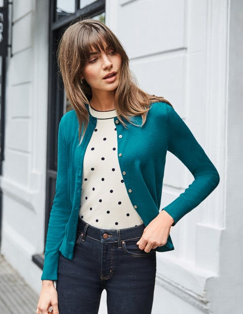 Eldon Cotton Crew Cardigan - Vibrant Teal