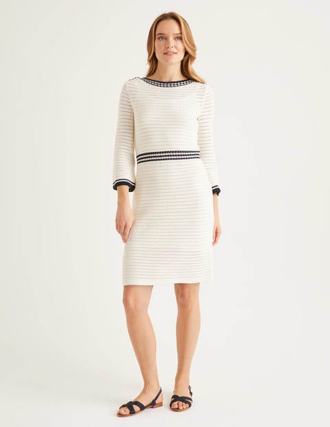 Betty Pointelle Cotton Dress - Ivory