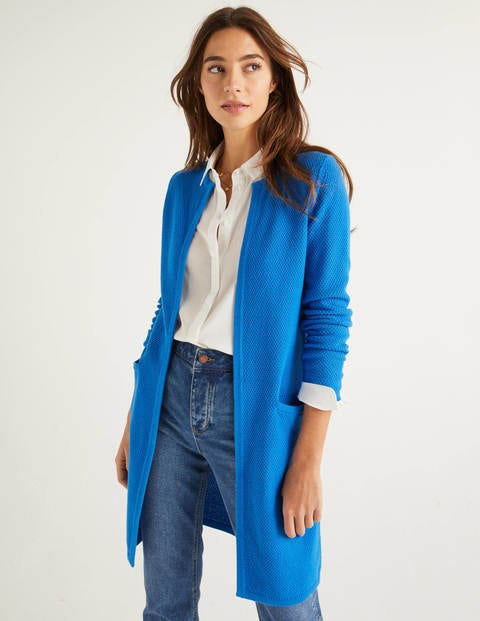 Long Textured Cotton Cardigan - Bold Blue